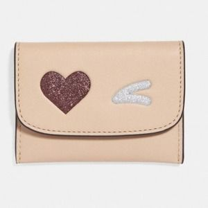 Coach Card Pouch with Glitter Wink Heart